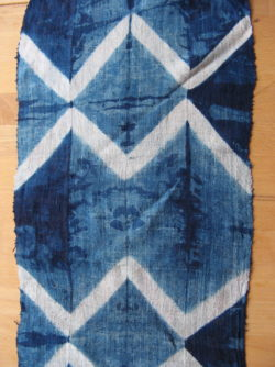 Indigo-dyed fabric with geometric patterns