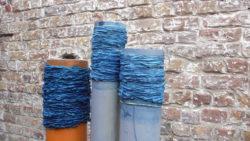 indigo-dyed fabrics on tubes