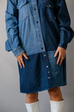 model wearing a shirt dress made out of two shirts
