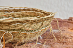 Twined basket of seagrass and wool with a base of hawthorn bark