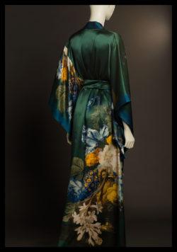 tuberose printed satin silk kimono