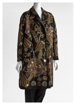 Black jacket featuring vines with pomegranate motifs in golden embroidery, with golden thread, cannetille, appliqué laces and sequin embroidery