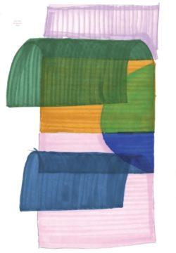 Een schilderij van een kunstwerk in lila, groen en blauw.