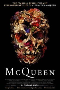 """Filmposter met afbeelding van een schedel van de documentaire """"McQueen""""."""