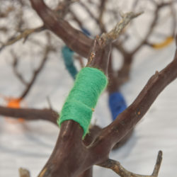 Branches with coloured bound textile cord