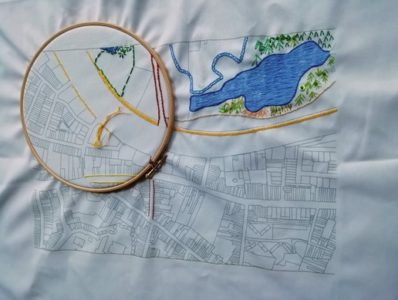 embroidered city map