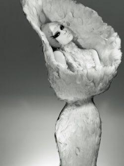 Affichebeeld voor de tentoonstelling Birds of Paradise. Een model draagt een witte verenjurk met een kelkvormige kraag van Alexander McQueen. Haar gevleugelde oog make-up maakt het beeld extra dramatisch.