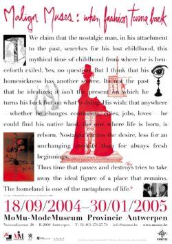 Affichebeeld voor de tentoonstelling Malign Muses. Het gedicht Nostalgia – J-B Pontalis wordt vergezeld van schetsen en silhouetten.
