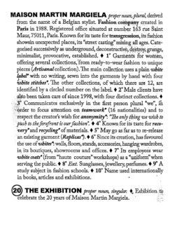 Affichebeeld voor de tentoonstelling MAISON MARTIN MARGIELA '20' The exhibition. Een beschrijving van het modehuis zoals je het in een woordenboek zou terugvinden.