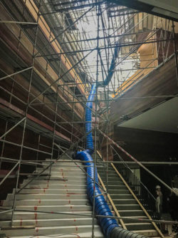 MoMu entrance hall surrounded by construction scaffolding