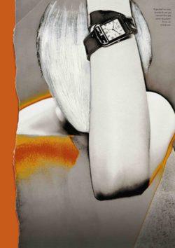 Herfst-winter 1998-1999 beeld advertentiecampagne overschilderd door Martin Margiela. Cape Cod uurwerk ontworpen door Henri d'Origny en double-tour armband door Martin Margiela.