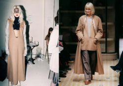 """Two silhouettes by Martin Margiela, one he made for his own fashion house on the left hand one for Hermès on the right. Both show a very deep V-neck, or the so-called """"vareuse"""", that was inspired by the classic sailor's uniform or pea jacket."""