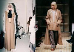 Twee silhouetten Martin Margiela, links voor zijn eigen modehuis en rechts voor Hermès, tonen een diepe V-hals of zogenaamde vareuse die geïnspireerd was op het klassieke matrozenjak.