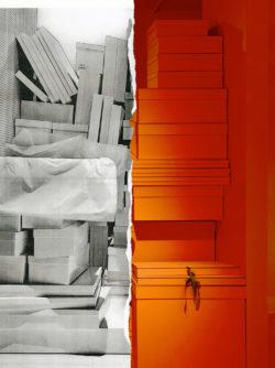 Het affichebeeld van de tentoonstelling toon de oranje verpakkingsmaterialen van het modehuis Hermès in contrast met de iconische witte dozen van Maison Martin Margiela.