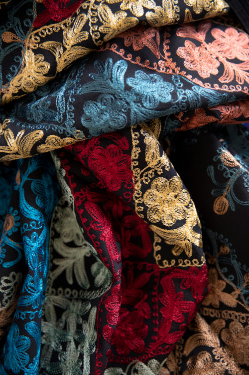 Detail of fabric with embroidered flowers in various colours.