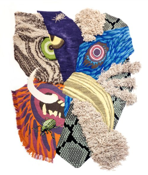 In this hand-knotted carpet different cultures and animals are merged into one mask. The tapestry plays with different textures and was made in once piece after which it was cut out in an expressive shape.