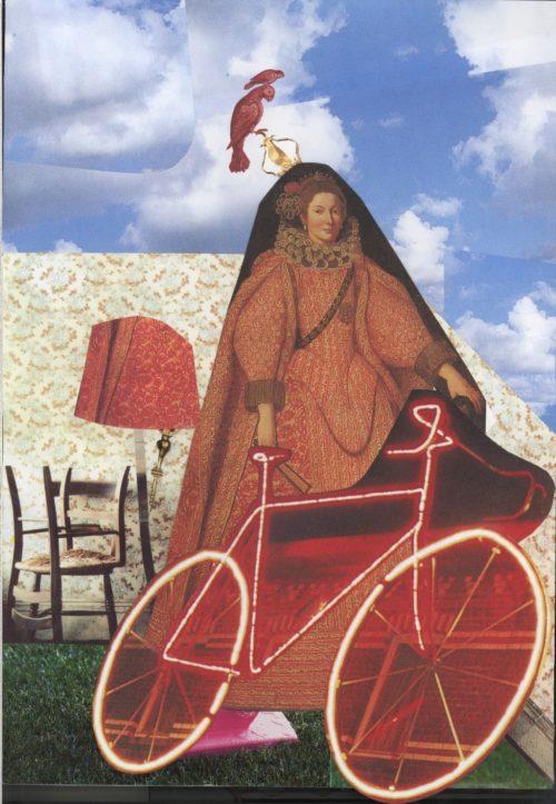 Affichebeeld voor de tentoonstelling GenovanversaeviceversA. Een surrealistische collage toont een vrouw in barokkledij met een fiets tegen een huiselijke achtergrond met blauwe hemel.