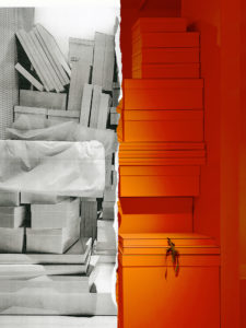The exhibition's campaign image show the orange packing materials of fashion house Hermès in contrast with the iconic white boxes of Maison Martin Margiela.