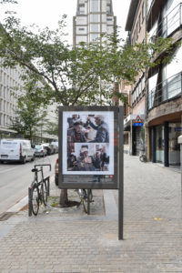Billboard with two images at Lombardenvest Antwerp