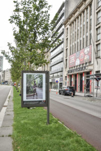 Billboard with image of African Fashion Week Brussels next to theater Elckerlyck in Antwerp