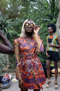 Model wearing a look during African Fashion Week