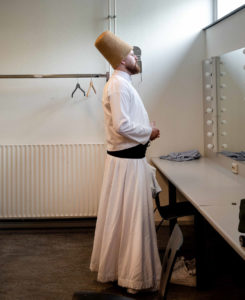 Saeed studied with his master for seven years to learn Sufi dance. Before a performance with the Tevazu Sufi Music Ensemble. Amsterdam, the Netherlands