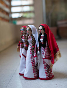 Dolls in traditional Palestinian festival clothes