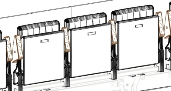 Technical drawing of three chairs in the auditorium.