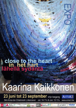 Exhibition image of Close To The Heart by Finnish artist Kaarina Kaikkonen. The image shows an installation of shirts