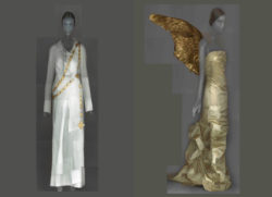 On the left: an all-white A.F. Vandevorst dress. On the right: Thierry Mugler angel wings restored by MoMu's collection department. Both are from the MoMu collection