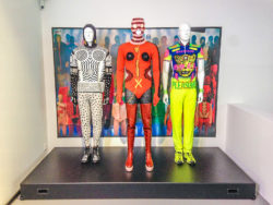"Three Walter Van Beirendonck silhouettes in the ""Night Fever"" exhibition at Vitra Design Museum."