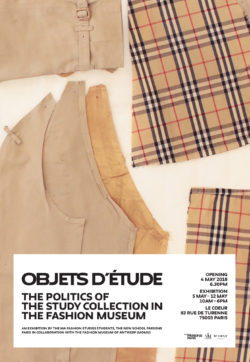The image shows the exhibition cover with a deconstructed fake Burberry jacket