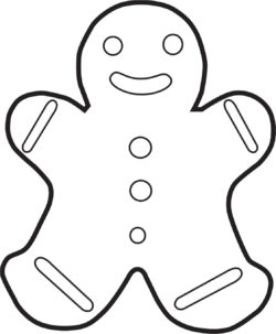 A drawing of a cookie in the shape of person.