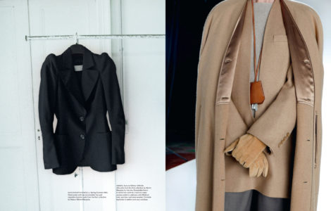 """Excerpt from the """"Margiela, the Hermès years"""" book. On the left a black fitted jacket with narrow shoulder line from Maison Martin Margiela. On the left a detachable fleece in camel hair and vareuse jacket by Margiela for Hermès"""