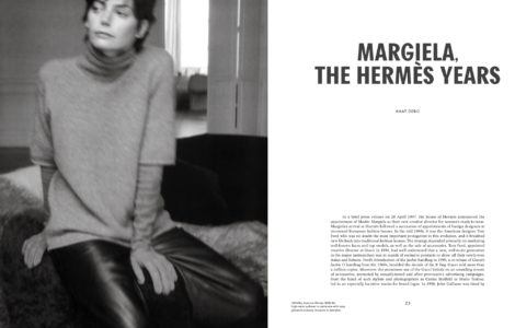 """Excerpt from the """"Margiela, the Hermès years"""" book. On the left page an image of a model in a high-neck pullover in cashmere with long gloves by Hermès. On the right page a short text by Kaat Debo, director of MoMu."""
