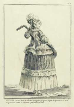 Engraving from 1778 featuring a Lady in 'caraco'.
