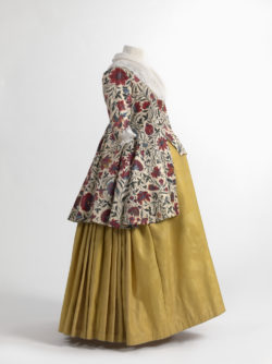 Jacket in chintz and skirt in wool damask, Europe