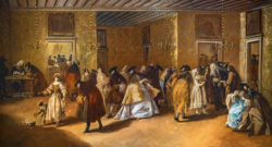 Painting of the Ridotto in Venice with masked figures conversing