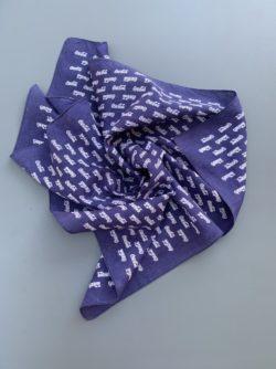 Vintage blue silk handkerchief with Coca-Cola printed all over it