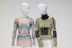 Left: Sheer shirt with patterns, right: knitted sweater