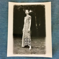 Photo of Kristina in the FW1993-94 'Artisanal' dress in her parents' garden