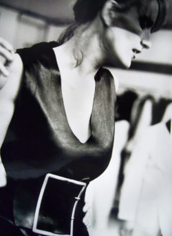 Black and white photo of model wearing Maison Martin Margiela AW 1996 collection