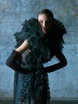 Model in Olivier Theyskens silhouette