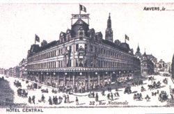 Ancienne image du bâtiment MoMu en 1902 sous le nom d'Hotel Central