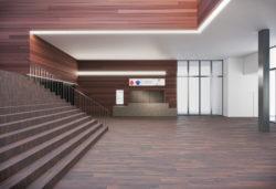 Het beeld geeft weer hoe de inkomhal in 2020 er zal uitzien. Op de linkerzijde staat nog steeds de trap. De kassa bevindt zich recht voor de bezoekers naar de lift.