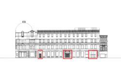 De afbeelding toont het zijaanzicht van het MoMu-gebouw aan de Nationalestraat met een vernieuwde ingang met draaideur, nieuwe deur voor de nooduitgang en een extra toegang tot het polyvalente ruimte.