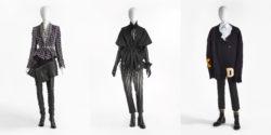 De afbeelding toont drie silhouetten uit de MoMu-collectie. Van links naar rechts zie je silhouetten van Haider Ackermann, Ann Demeulemeester en Raf Simons.