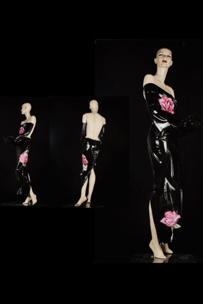 Off shoulder black latex dress on mannequin: front, side and back view