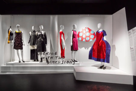 Scenography image of the Game Changers exhibition. In the image you see 7 silhouettes.
