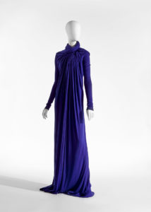 Long blue pleated dress with long sleeves